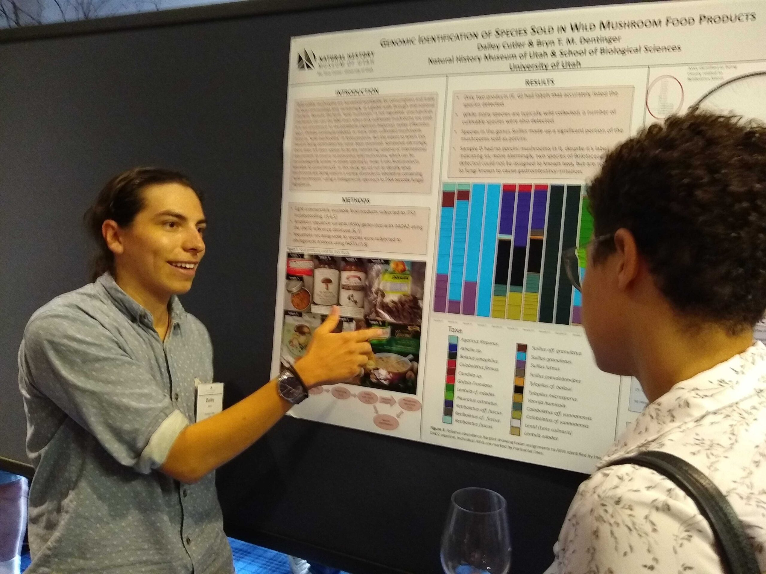 Dalley Cutler presents in front of an academic poster that displays the data included in this study.