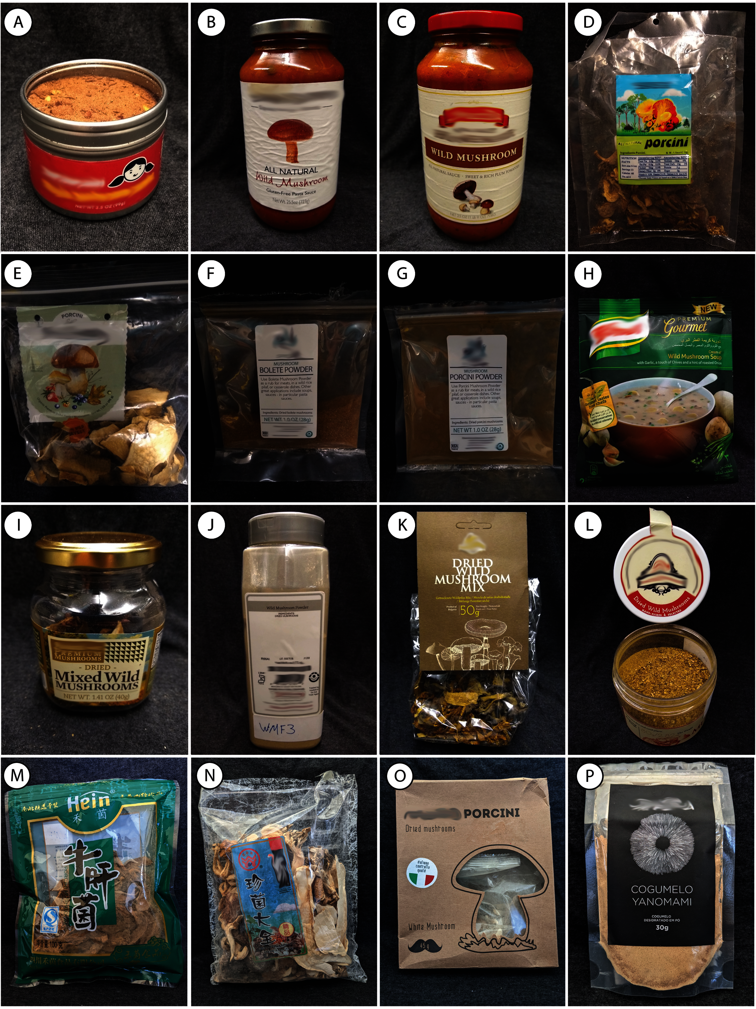 """A grid of all of the food products in the study, from soups to pasta sauces and packages of dried mushrooms and powders and flavor enhancers. All are labeled with the phrase """"wild mushrooms"""""""