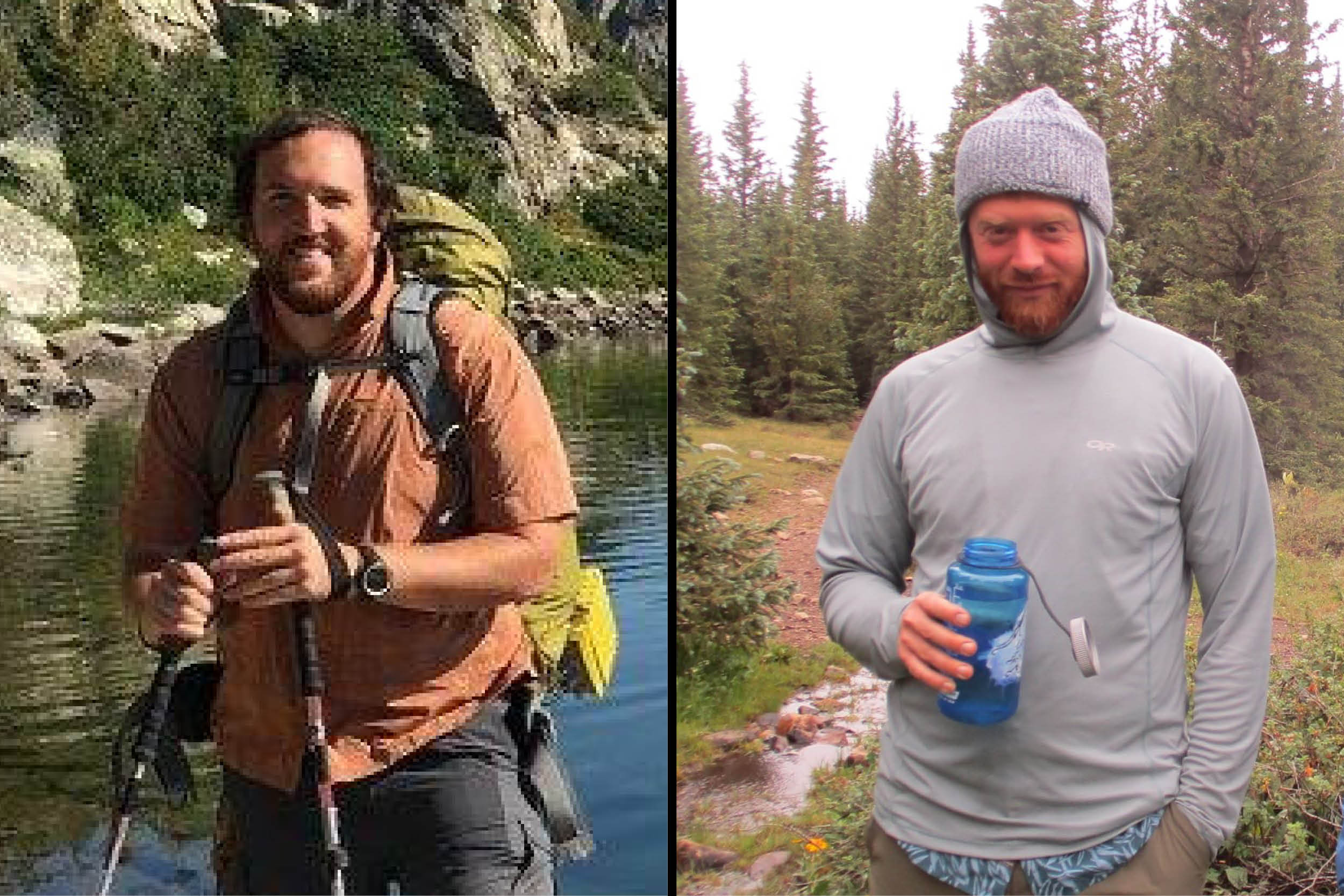 Two photos are placed side by side. the photo on the left shows a male-presenting person with hiking sticks and a backpack in front of a lake. the photo on the right features a male-presenting person in a hooded sweatshirt with the hood pulled tight over their head, holding a water bottle, standing in the woods.