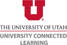 """UCL logo features a red block u in the top middle, underneath reads """"University of Utah University Connected Learning"""""""