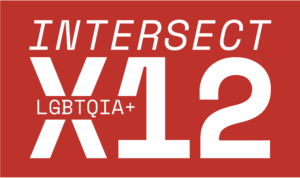 """red rectangle graphic with white text inside which reads, """"Intersect X12, LGBTQIA+"""""""