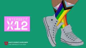 graphic with a green background. on the right side, a person's legs and feet wearing grey shoes and LGBT pride month socks.